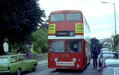 Premature journey's end for Devon General, Leyland Atlantean. (Renown) Tags: road park west bus nbc coach garage devon end texaco roe leyland bitton mcw teignmouth devongeneral atlantean hillmanhunter pdr1 908dtt