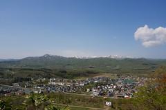 東山公園スキー場から黒松内町を見下ろす