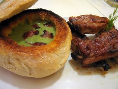 bacon broccoli and potato soup in bread bowl with pork side ribs
