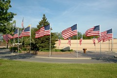 Avenue of flags (sirchuckles) Tags: water circle drive illinois downtown flags foutain warrenville veteransmemorial avenueofflags