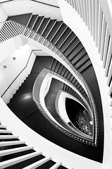 Stairway at the Chicago MCA (Miller Taylor) Tags: bw chicago art lines museum architecture spiral top20bw pond stair contemporary stairwell stairway petal coy mca d300 josefpaulkleihues 123bw archidose