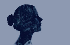 Doble exposición (isagsr) Tags: canon portrait double blue silhouete