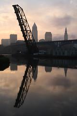 Flats Sunrise (Thom Sheridan) Tags: bridge reflection sunrise lakeerie westbank cleveland greatlakes flats cuyahoga clevelandskyline thomsheridan