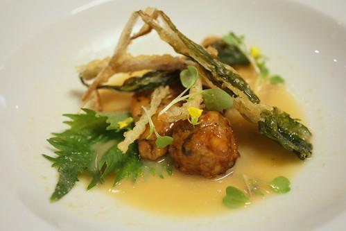 Teriyaki rabbit albondigas, teriyaki foie gras, miso, green Garlic tempura