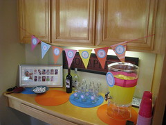 First Birthday Party - drink station with printables