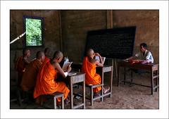 Monks at school (yanseiler) Tags: world travel field work canon temple asia cambodge cambodia rice tribal backpack 5d phnompenh canon5d farmer angkor wat independant kratie snuol senmonorom mondolkiri phnong