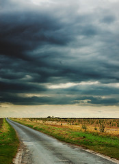 One Way Ticket (Yelema) Tags: road sky cloud field silhouette clouds landscape grey gris champs route ciel land gif yvette nuage nuages iledefrance gifsuryvette regionparisienne cielgris chevry gometzlaville yelema