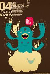 dia feliz (medialunadegrasa) Tags: love monster del four design tshirt dia 24 octubre feliz handed juancarlos diseador