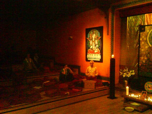 Padmaloka shrine at night 4