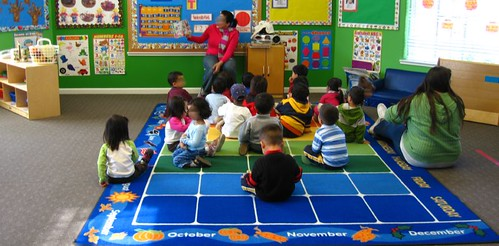 Circle time on their first day at preschool
