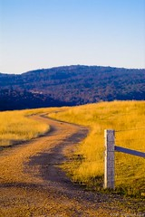 Winding country road (neilcreek) Tags: show road blue trees sunset sky field grass fence gold golden bush purple post path australian royal first windy australia best hills dirt winner winding mansfield fencepost epiceditsselection