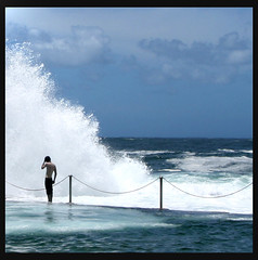 The boy and the wave (Jules in Sydney) Tags: ocean summer surf wave coogee oceanpool wyliesbaths superaplus aplusphoto flickrelite theperfectphotographer