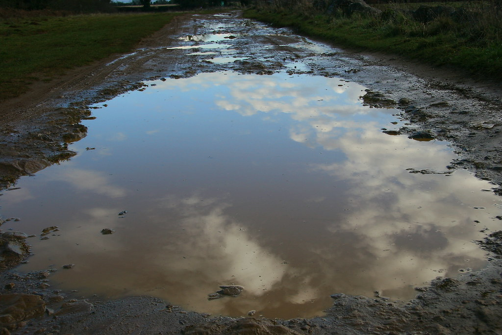 Sky, puddle, path