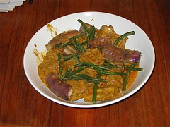 Beef kare-kare (beef curry stew with peanut sauce, eggplant, and string beans)