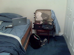 Why bother unpacking for a 4 day weekebd at home?