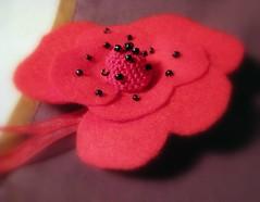 Papoila vermelha ( red poppy) (Oh!.. So cute!) Tags: flowers red flores brooch artesanato felt vermelho feltro alfinete feltflower