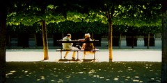 France - Paris - Palais Royal - widescreen (Darrell Godliman) Tags: park travel trees summer people copyright paris france hot travelling tourism garden bench frankreich couple warm europe candid widescreen jardin eu panoramic symmetry summertime talking fr francia parc shady allrightsreserved  parigi jardinduluxembourg luco rpubliquefranaise travelphotography frenchsenate discussing luxembourgpalace    instantfave 6tharrondissement  omot   travelphotographer flickrelite dgphotos darrellgodliman wwwdgphotoscouk dgodliman