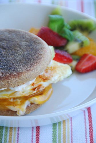 breakfast sandwich with eggs, cheddar, and chipotle chili