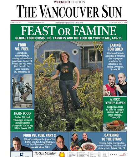 Image of Keira Mcphee on the cover of the Vancouver Sun