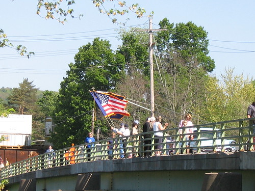 Flags on bridge
