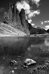 Rifugio Re Alberto (JR Hall) Tags: travel bw italy mountains alps trekking eos hiking climbing 5d 2008 canoneos trentino dolomites rifugio catinaccio valdifassa vajolet canoneos5d eos5d canonef24105mmf4lisusm realberto rifugiorealberto platinumphoto aplusphoto ysplix theunforgettablepictures artlegacy italy2008 torridivajolet lprocks lptowers