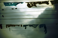 Pajaritos en los Cables - birds on the wires (ManuelChao [ MoMoChao / ManuChao]) Tags: blue light blur color bird lines yellow backlight clouds contrast photoshop wire foto edited colores line amarillo ave cielo nubes contraste pajaro fotografia sureal nube edit linea pajarito lineas contraluzurbano