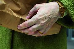 Holding Out by Seward Johnson ©1987 The Seward Johnson Atelier, Inc. www.sewardjohnsonatelier.org (Amish Country Northern Indiana) Tags: celebratingthefamiliar female grocery holdingout urbanstreets