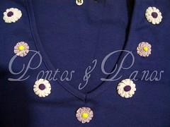 Customizao com Fuxico (Pontos & Panos - Liz Azevedo) Tags: flores cores moda camisetas feminina aplicaes ribana camisetascustomizadas