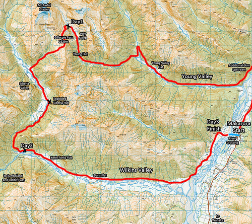 Young Valley / Wilkins Valley Traverse Map