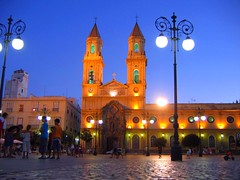 Cadiz Night Study (AsherBlue) Tags: plaza travel blue church night religious twilight spain streetlight cathedral radiance streetlife andalucia cadiz citycenter towncenter smrgsbord travelphotography townplaza pblicsquare hccity ilovemypics platinumpeaceaward