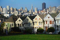 The Painted Ladies (juliaclairejackson) Tags: sanfrancisco california city houses urban usa modern contrast america colours pacific traditional victorian roadtrip panoramic colourful juxtaposition cliche paintedladies oldnew cliched juxtoposition citybreak