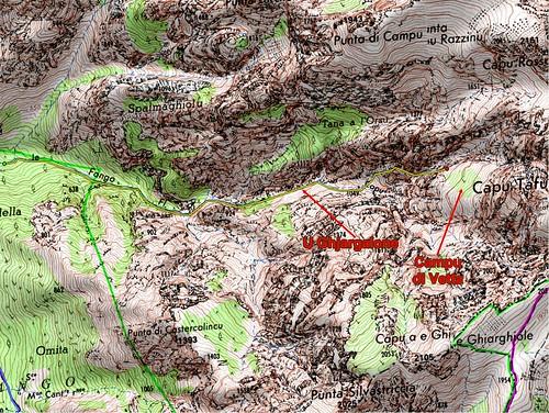 Carte des hauts ravins du Fangu
