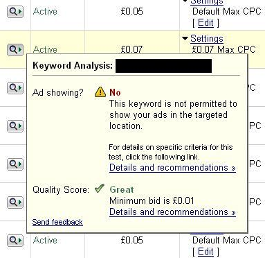 AdWords Diagnostic Tool Bug