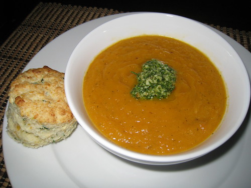 Carrot Soup with Dill Pesto and Sour Cream and Chive Biscuits