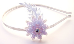 White, Purple and Blue Vintage Flowers Headband