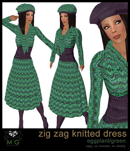 [MG fashion] Zig zag knitted dress (eggplant/green)