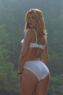 lingerie underwear blonde looking over shoulder white bra full back white panties ass