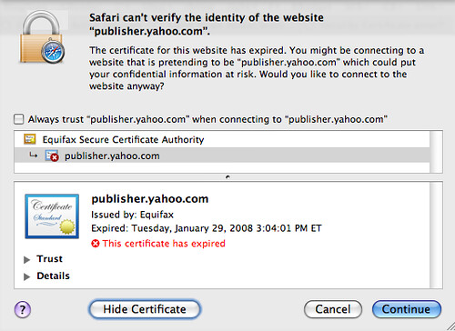 yahoo forgets to renew security certificate for publisher network