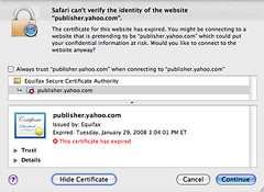 Yahoo Publisher Network Security Cert