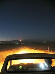 fire on the horizon (kneesamo) Tags: longexposure fire long exposure pickup nightshots atnight 1973 tehachapi datsun butterscotch slowshutterspeed 620 inthedark l20b bulletside pl620