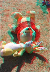 Pooh and Rabbit in 3D (Ray Tomes) Tags: rabbit toys 3d stuffed anaglyph stereo pooh winnie redcyan