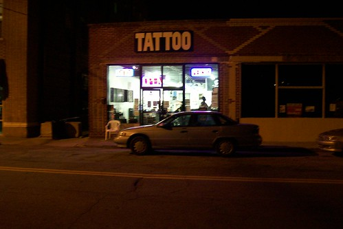 Southside Tattoos later at night,