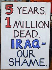 Placard for Iraq (Vertigogen) Tags: uk us war iraq illegal invasion occupation 5thanniversary aggressors 19march2008 1millionlives ourshame