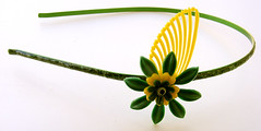 Green and Yellow Vintage Flowers Headband