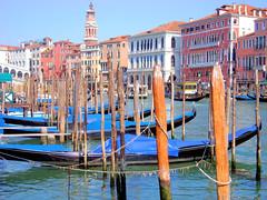 brilliant blue canale (adudi) Tags: wood blue venice red sea italy water boat canal grande shot shot2 gondola rialto gondolas