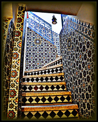 Moroccan tilework. (blamstur) Tags: cruise vacation lamp stairs tile lookingup morocco taroudant tilework anotherchallengegroup