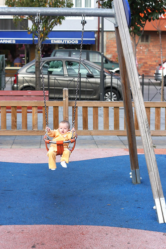 Nora's first time on the swings