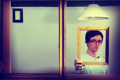 See through you (MarkEllis) Tags: portrait selfportrait reflection lines square mirror golden holding framed fingers picture tint piercing reflected frame thumb beyond tension vignette lightshade gilt edgeoftheframe seeingthrough wwwmarkellisphotographycom backoftheframe
