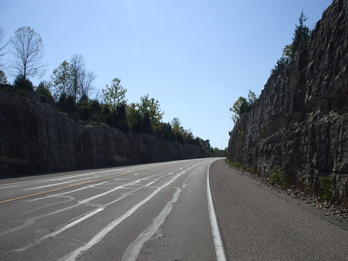 Road carved through limestone