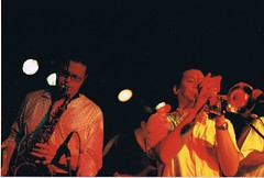 P.I.C horn section - l to r - Horny Jeff (HJ), Sulu (Esto Esta) Tags: pic releaseparty elnovahustle
